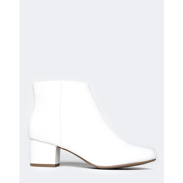 J. Adams Jody Ankle Boot ($32) ❤ liked on Polyvore featuring shoes, boots, ankle booties, ankle boots, white pu, mid-heel boots, white bootie boots, mid heel booties, pull on boots and white booties