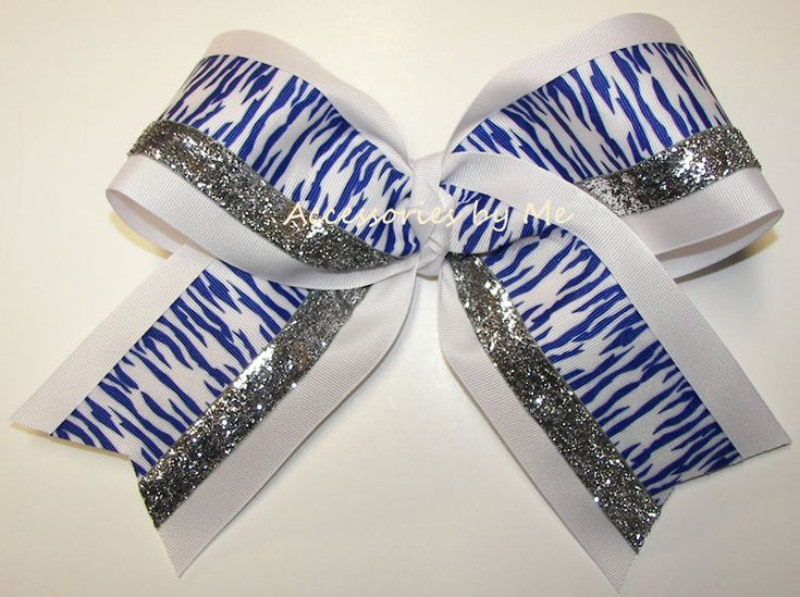 Cheer Bow Zebra Royal Blue Silver Sparkly Ribbon 7 Inch Tiger Soccer Softball  #AccessoriesbyMe