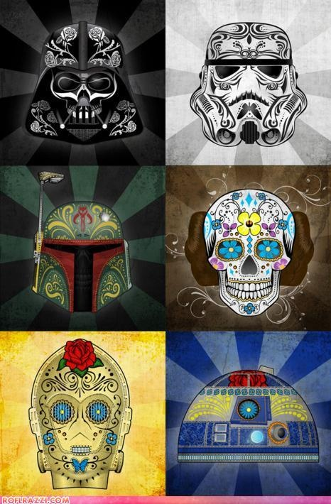 Star Wars - Sugar Skulls  Darth Vader, Stormtrooper, Boba Fett, Princess Leia, C3PO, R2D2