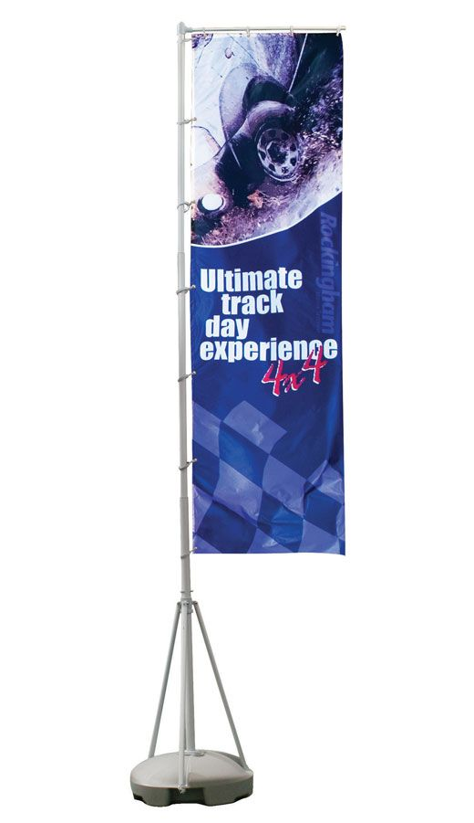 Wind Dancer (WD104)      The Wind Dancer portable flag is an ideal solution for high impact promotions     Telescopic pole (choice of size up to 4 or 5 metres)     Base unit splits down into sections, each section can be filled with water or sand for extra stability     Portable and lightweight     Four parts hollow moulded plastic base for easy carriage     Eyelet fixings for graphic attachment     Optional carry bags available     Withstands winds 13-18mph approx (Beaufort scale 4)