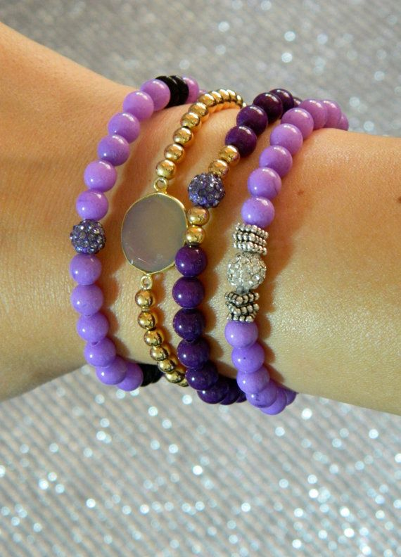 Purple Beaded Bracelet Set of 4 by GasiaD on Etsy