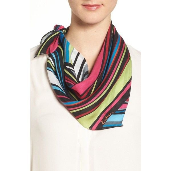 Women's Echo Stripe Silk Scarf ($39) ❤ liked on Polyvore featuring accessories, scarves, multi, tying silk scarves, echo scarves, square scarves, square silk scarves and striped shawl
