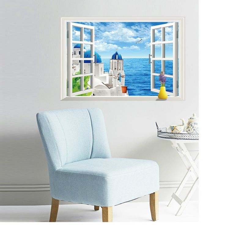Find More Wall Stickers Information about 3d Love Sea Scenery Wall Stickers Window Removable Stickers Hot Sale Home Decorative Paper Sticker,High Quality sticker letter,China stickers oem Suppliers, Cheap stickers usa from Handicraftsman on Aliexpress.com