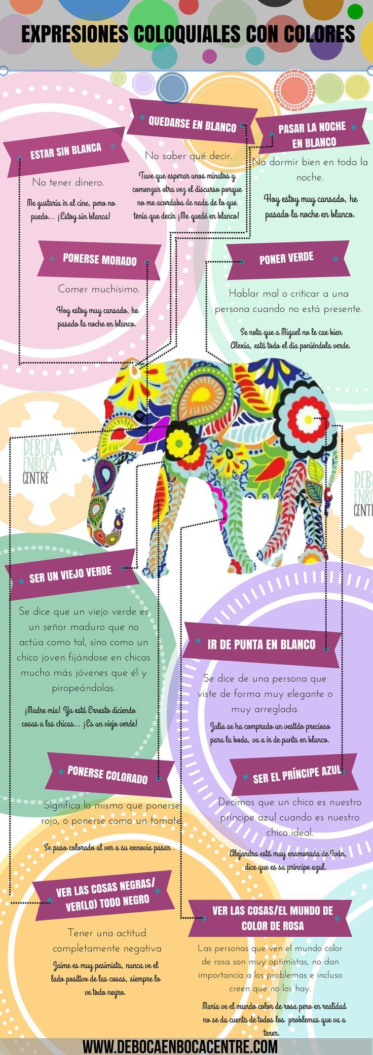 #Infografía de expresiones coloquiales con colores en #español.