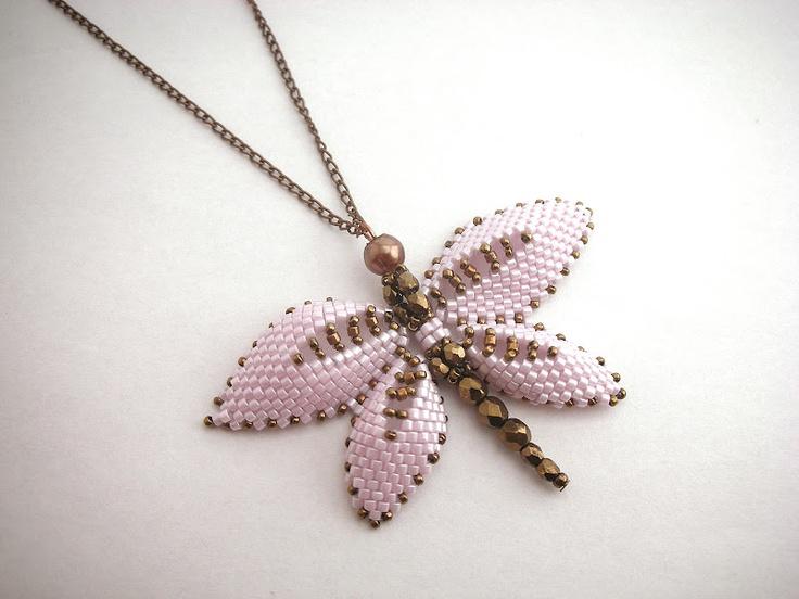 Marcsi gyöngyékszerei: Szitakötők Russian dragonfly pattern by Beverly Herman, No Easy Beads