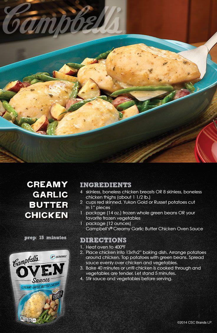 Creamy Garlic Butter Chicken with Campbell's Dinner Sauces #CampbellsSauces  #sponsored