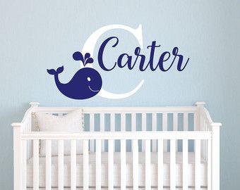Stunning Wandtattoo Wal Namen Aufkleber personalisierte Namen Aufkleber mit Wal Kinderzimmer Wand Dekor Aufkleber
