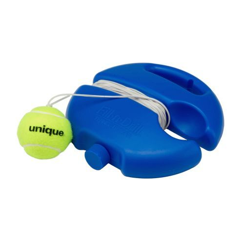 The UNIQUE Fill-n-Drill Tennis Trainer is ideal for beginner and intermediate players and has a rubber cord that returns the ball back to the player.