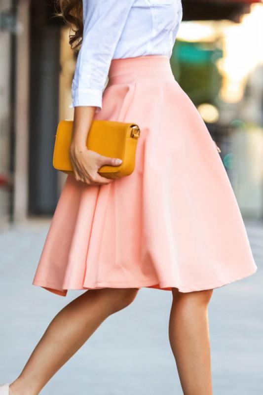 Pink Plain A-line High Waist Skirt