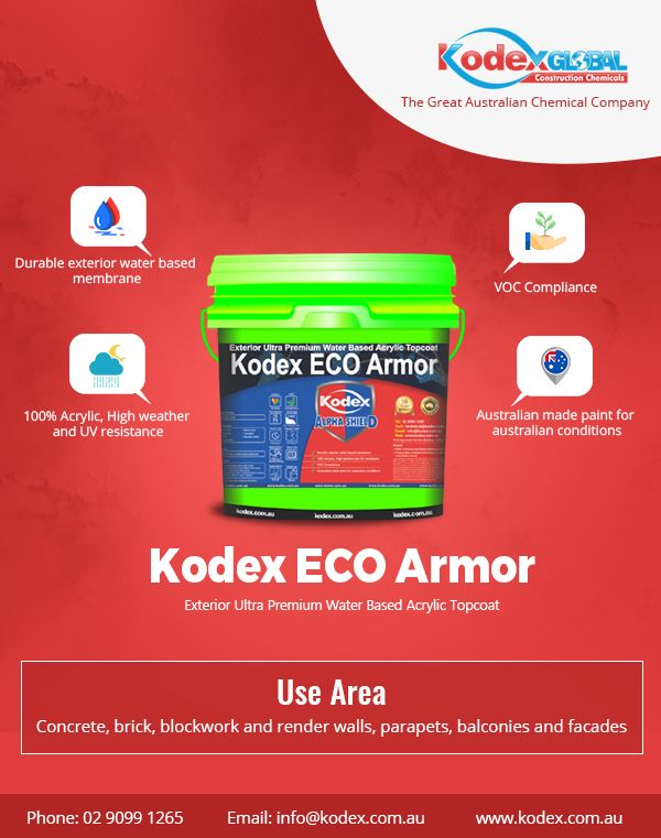 High build Siloxane modified #Kodex #ECO #Armor is UV resistant waterbased membrane which protects against damage by carbonation and salt chlorides. These can be used in Bitumen Roof coating and more.