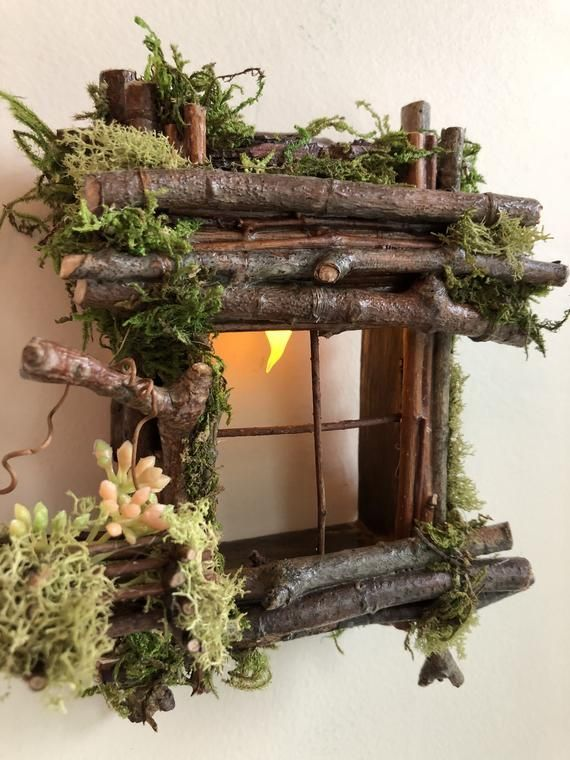 Fairy Window with Basket of Flowers and Light Han…