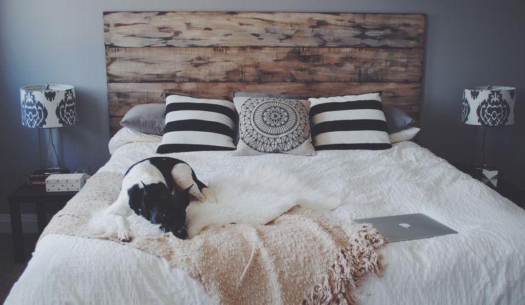 diy wood headboard. rustic modern. grey walls. master bedroom. neutral decor. modern farmhouse.