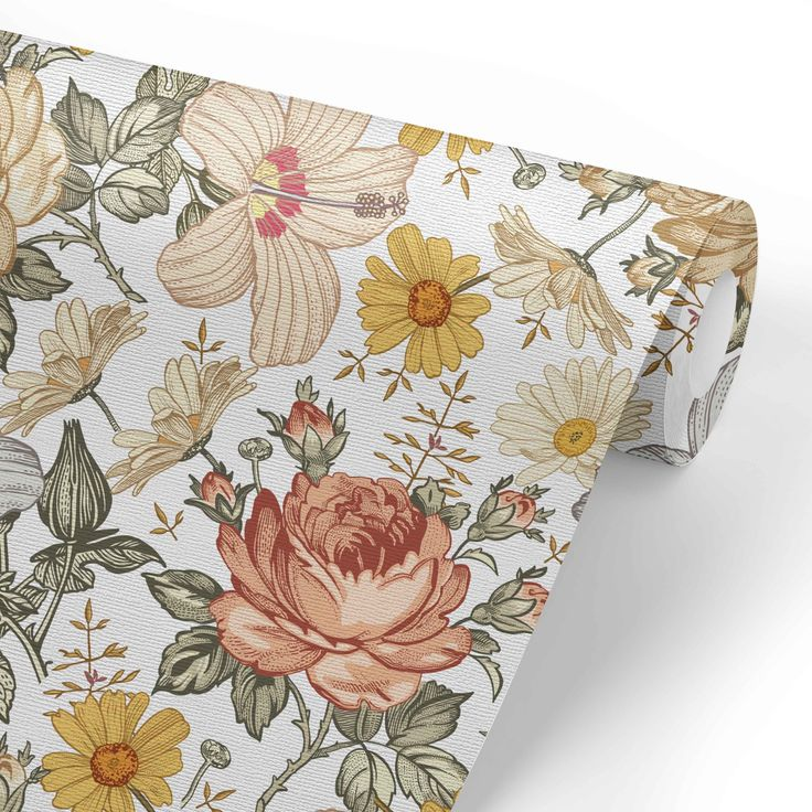 Solid Color Removable Wallpaper For An Accent Wall: Vintage Floral Removable Nursery Wallpaper