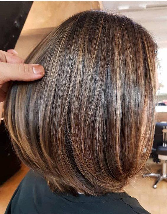 Elegant Brown Hair Shades Highlights For Short Hair Honey Brown Hair Brown Hair With Blonde Highlights Short Hair Highlights