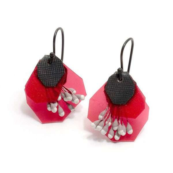 Yuko Fujita - brightly coloured earrings made from polypropylene, paper and oxidised sterling silver. Pink version.