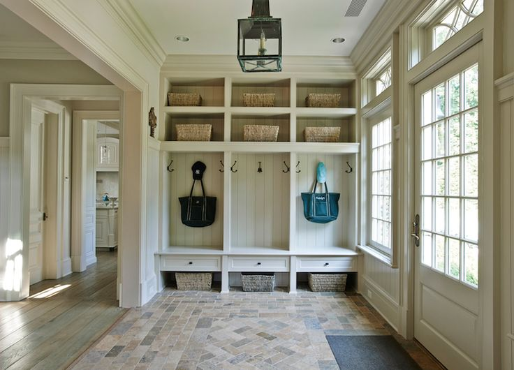 Brooks falotico laundry mud rooms paneled mudroom for Mudroom floors