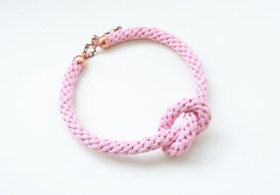 Pink braided knot necklace knotted rope jewelry by elfinadesign