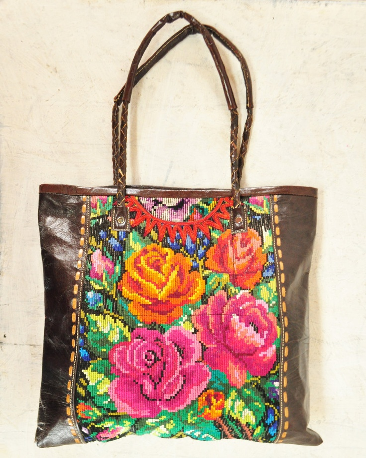 tote bag made from recycled Mayan embroidered blouses and leather