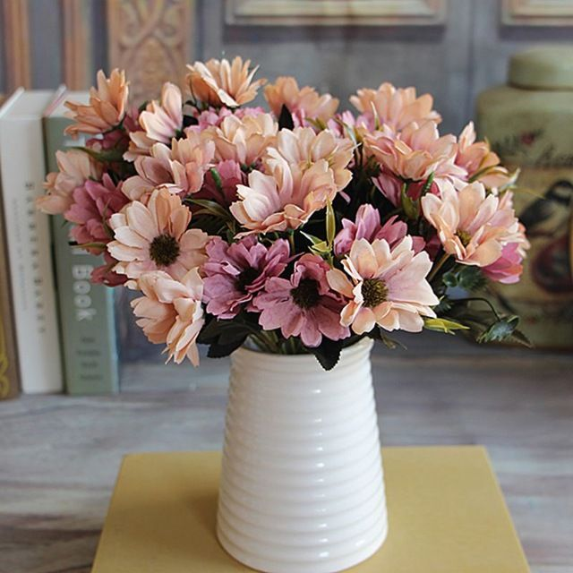Bunch Man Mad Bridal Daisy Flowers Fake Silk Bouquet Home Party Decor Props Artificial 1pcs-in Decorative Flowers & Wreaths from Home & Garden on Aliexpress.com | Alibaba Group
