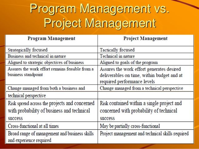 ProjectManagementVsProgramManagement  Development