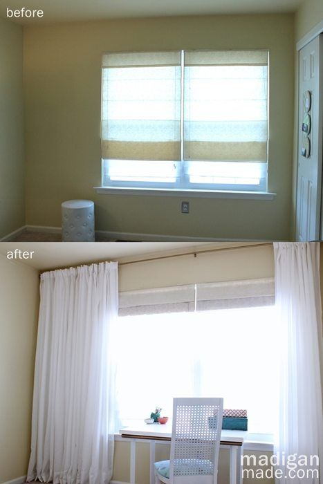 Tip: hang the curtains across the whole wall to make the window feel larger and balance a non centered window