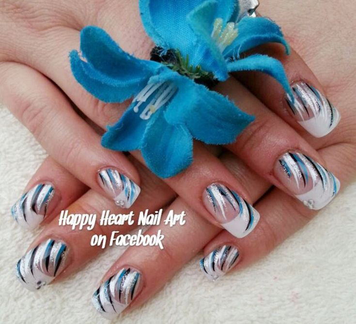 blue silver black striped accent french festive nails