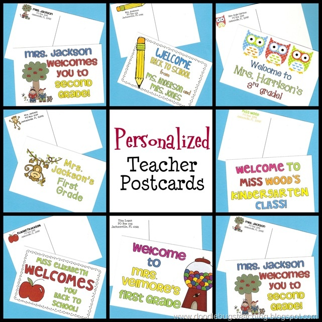 personalized teacher postcards
