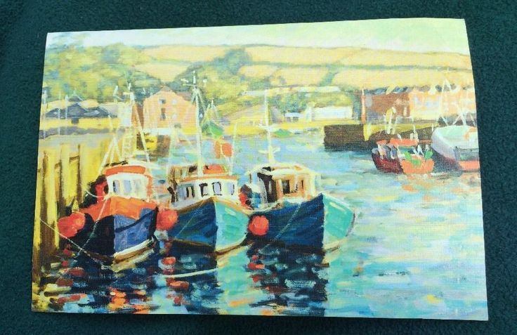 Boats In Harbor Mouth And Foot Painting Artists Greeting Card Friend Family #TheMouthAndFootPaintingArtists #AnyOccasion