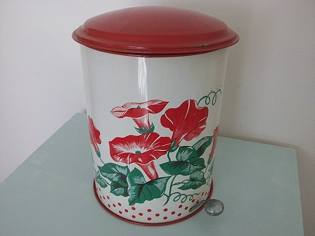 Vintage Metal Floral Trash Can