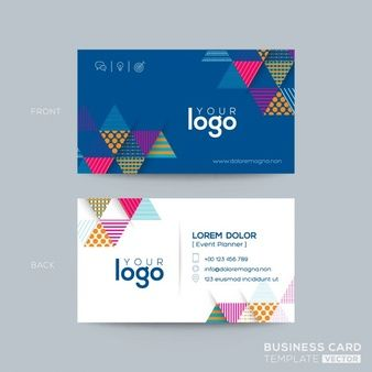 Simple corporate card with triangular geometric shapes