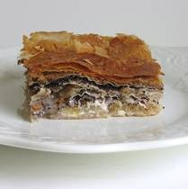 Croatian nine-layer filo pie is also known as Bregovska pita or gibanica devet vrsti. It's a sweet desert with poppyseeds, walnuts, apples and sour cream.