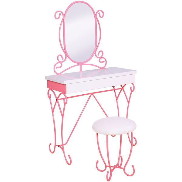 Serendipity Pink Princess-Style Vanity Set ($280) ❤ liked on Polyvore featuring home, children's room and children's furniture
