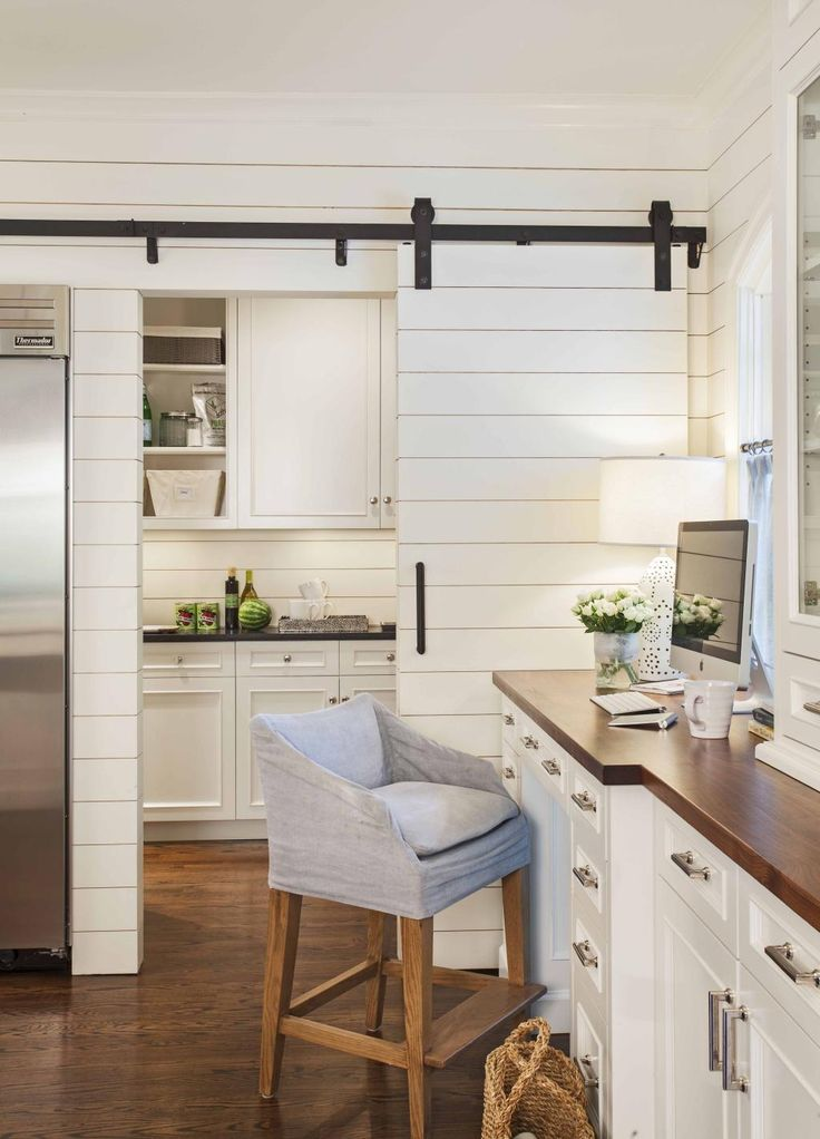 Shiplap and barstool; Kitchen workspace. Advanced Renovations - Charlotte Remodeling Contractor