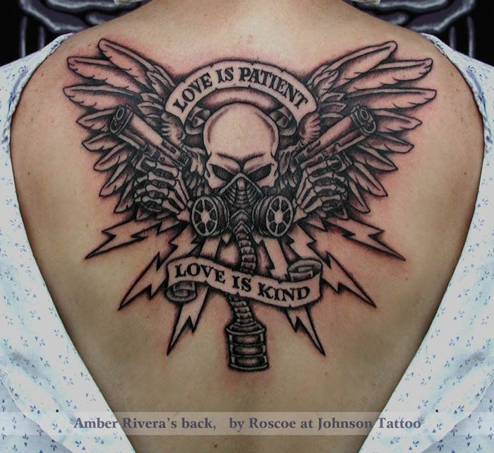 love is patient skull with guns gas mask back tattoo by roscoe johnson tattoos pinterest. Black Bedroom Furniture Sets. Home Design Ideas