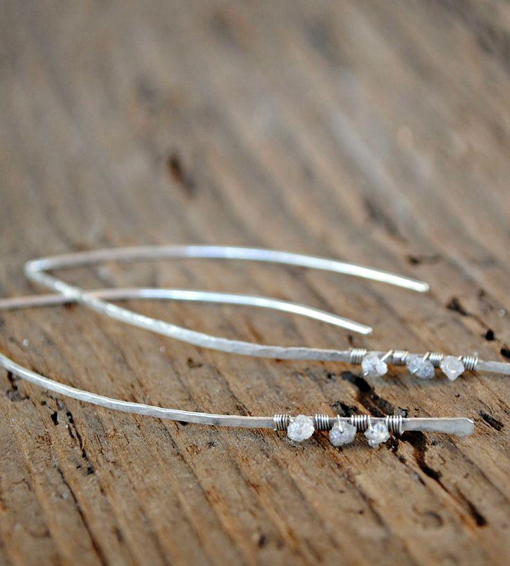 Silver Diamond Drop Earrings / by House of Stonez