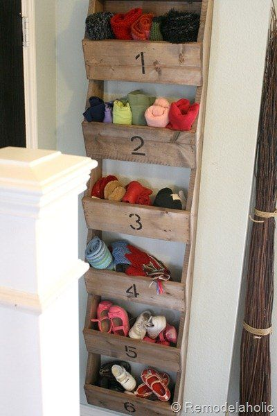 DIY Rustic Wall Storage Bins from Remodelaholic