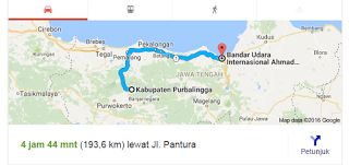 Rute Purbalingga - Bandara Ahmad Yani