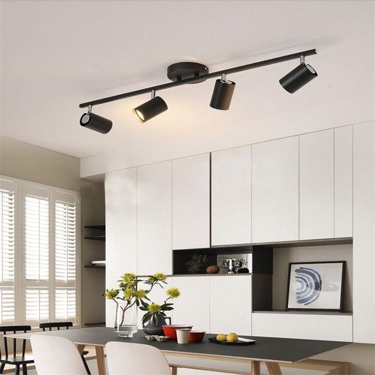 Black White Ceiling Lamp Lighting Angle Adjustable Spotlights Gu10 Spot Lights Bulb For Store Shop S In 2020 Kitchen Ceiling Lights Ceiling Lamp White Ceiling Lamp