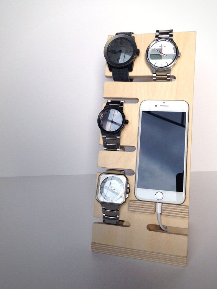 Watch & Phone Dock - Watch Holder - Phone Holder - Night Stand Organizer - Night Stand Caddy - Modern - Charging Station -Wood - Handmade by CyclopsWoodWorks on Etsy https://www.etsy.com/listing/453808794/watch-phone-dock-watch-holder-phone