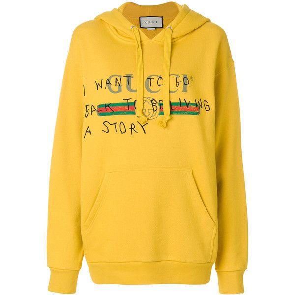 Gucci Coco Capitán logo sweatshirt (€1.080) ❤ liked on Polyvore featuring tops, hoodies, sweatshirts, cotton hooded sweatshirt, yellow hoodie sweatshirt, cotton hoodie, kangaroo pocket hoodie and long sleeve hoodie