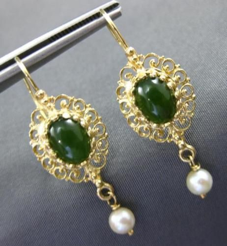 ANTIQUE-JADE-amp-SOUTH-SEA-PEARL-14K-YELLOW-GOLD-3D-FILIGREE-OVAL-HANGING-EARRINGS