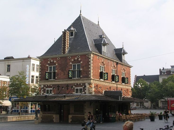 Waag Leeuwarden. build around 1590. this was the center of the market where butter cheese and other products were weighed until 1880. Now the building is used as a lunchroom.