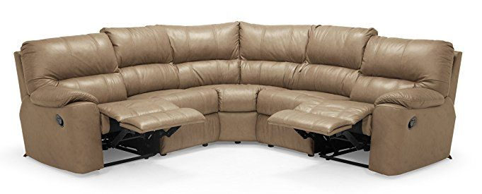 5 Seat Curved Corner Reclining Sectional Classic Sandstone White