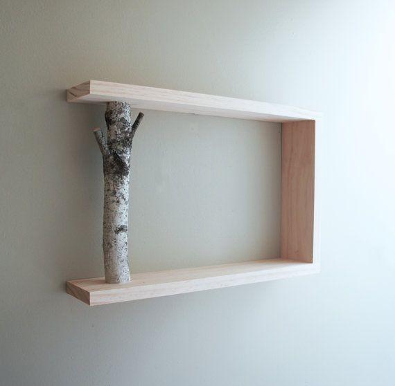 white birch forest wall shelf