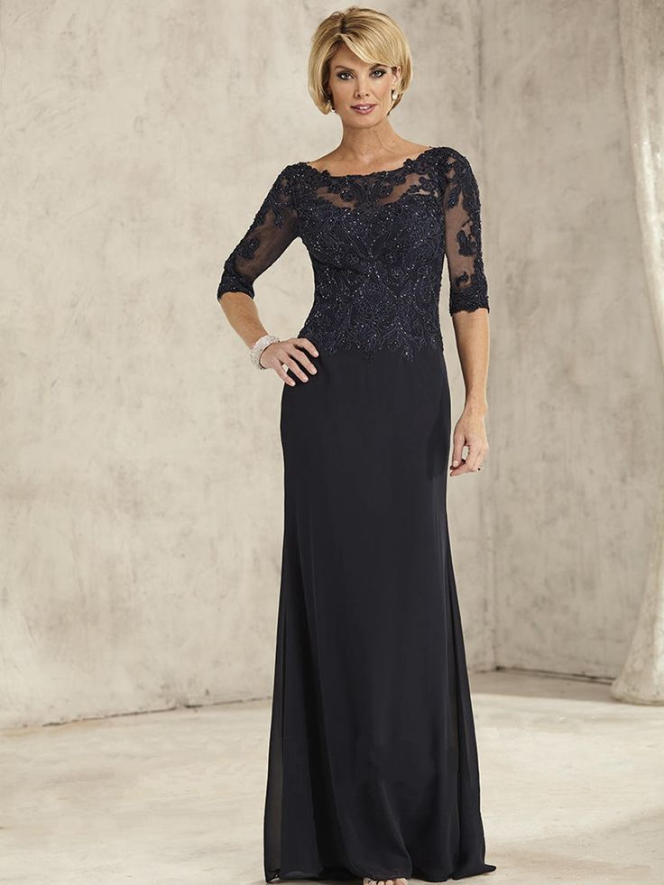 Long Black 3/4 Sleeves Illusion Neckline Lace and Chiffon Mother of The Bride Dresses 5701029