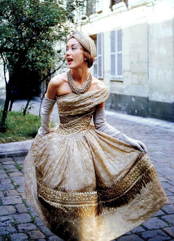"Christian Dior's sari-inspired dress called ""Soirée de Lahore"", Autumn/Winter Collection Y-Line 1955, photo by Mark Shaw, Paris."