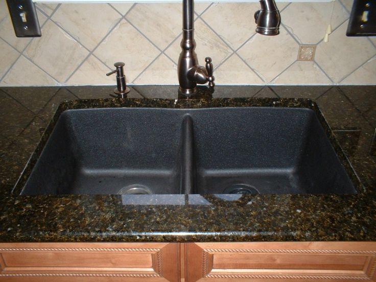 awesome How To Clean Black Granite Composite Kitchen Sink #3: Kitchen, : Diving Kitchen Design Ideas With Diagonal White Tile Kitchen  Backsplash Including Black Granite Countertops And Black Granite Double  Bowl Kitchen ...