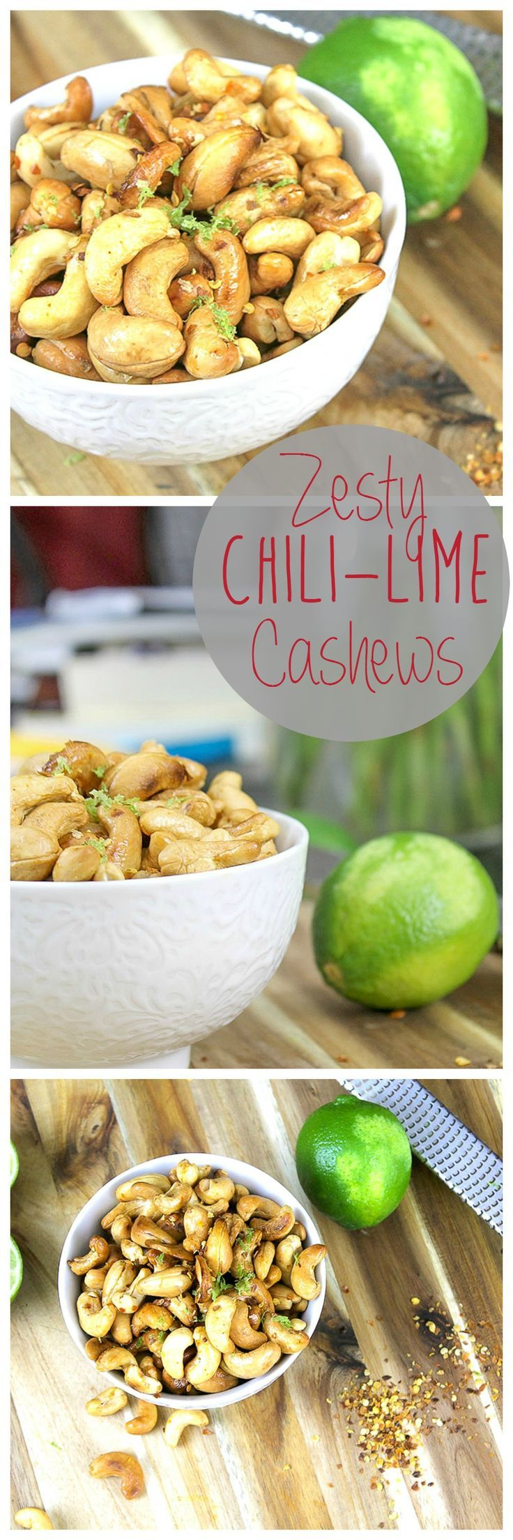 These roasted cashews have a little kick to them with a bright, zesty finish. Tossed in olive oil and lime zest with a red pepper finish. Great for game-day snacking! Zesty Chili Lime Cashews Recipe | Take Two Tapas