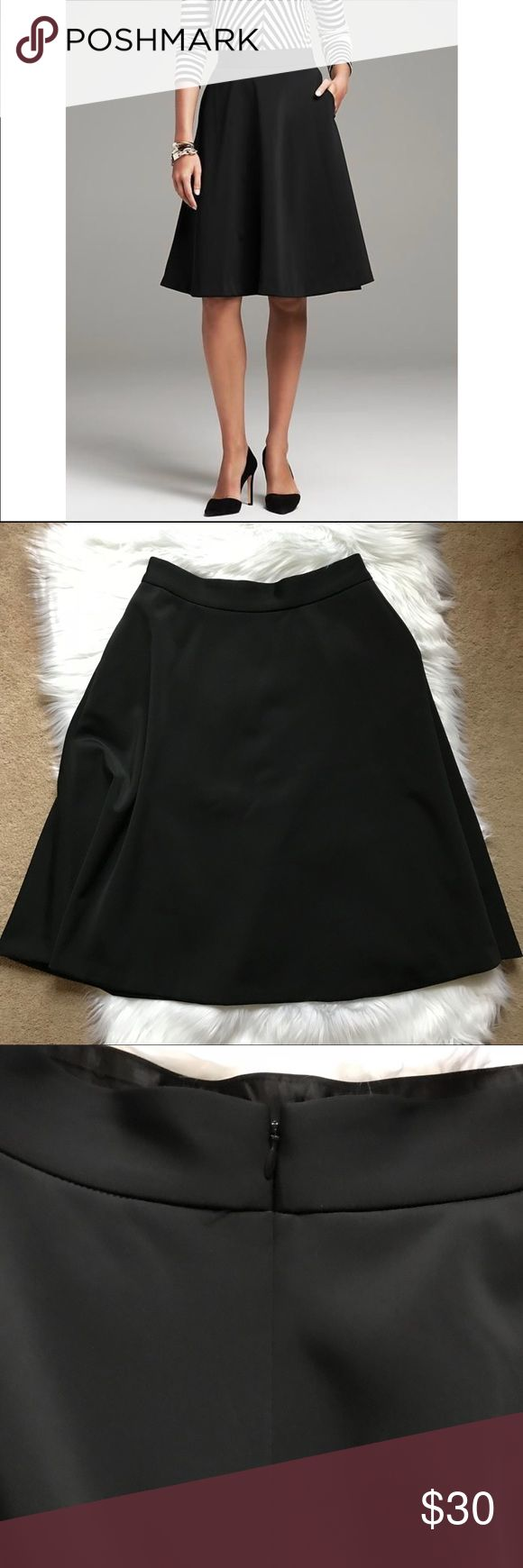 """Banana Republic Black Matte Satin Circle Skirt NWT Banana Republic Black Matte Satin Circle Skirt.  New with tags, size 8.  HAS POCKETS!  😊😊😊  Measurements laying flat Length 25"""" Waist 14"""" Skirt bottom hem when stretched is 40"""" (this skirt is gorgeously flouncy and perfect for the holidays!) Banana Republic Skirts Midi"""