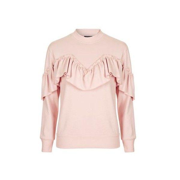 Topshop Petite Ruffle Sweatshirt (£30) ❤ liked on Polyvore featuring tops, hoodies, sweatshirts, pink, ruffle top, flutter-sleeve top, frill top, ruffle sweatshirt and flounce tops